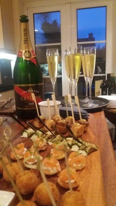 champagne and canapes for dinner party